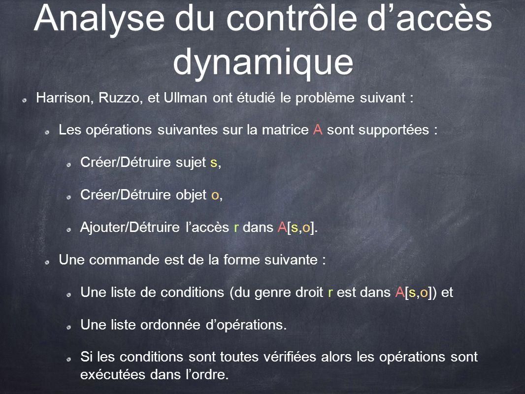 Analyse du contrôle daccès dynamique Harrison, Ruzzo, et Ullman ont étudié le problème suivant : Les opérations suivantes sur la matrice A sont suppor