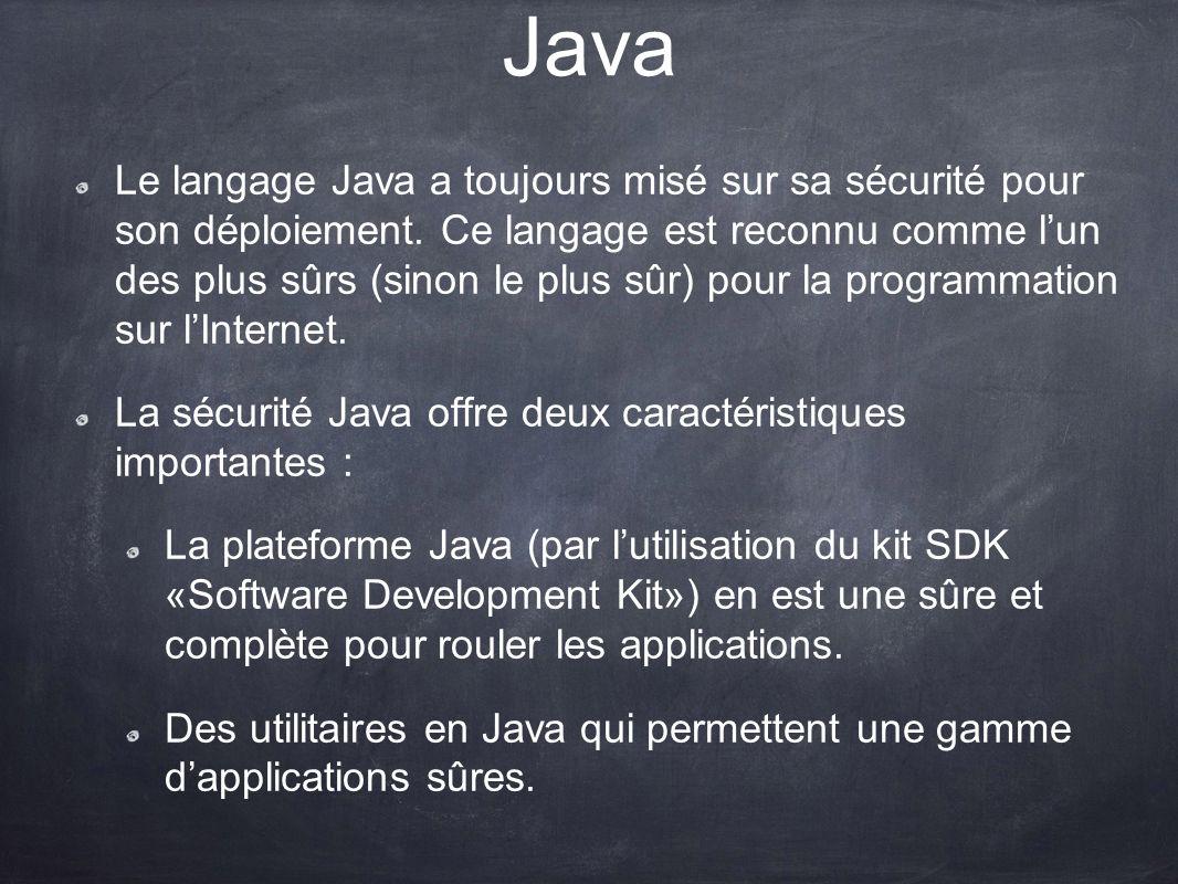 Java Le langage Java a toujours misé sur sa sécurité pour son déploiement. Ce langage est reconnu comme lun des plus sûrs (sinon le plus sûr) pour la