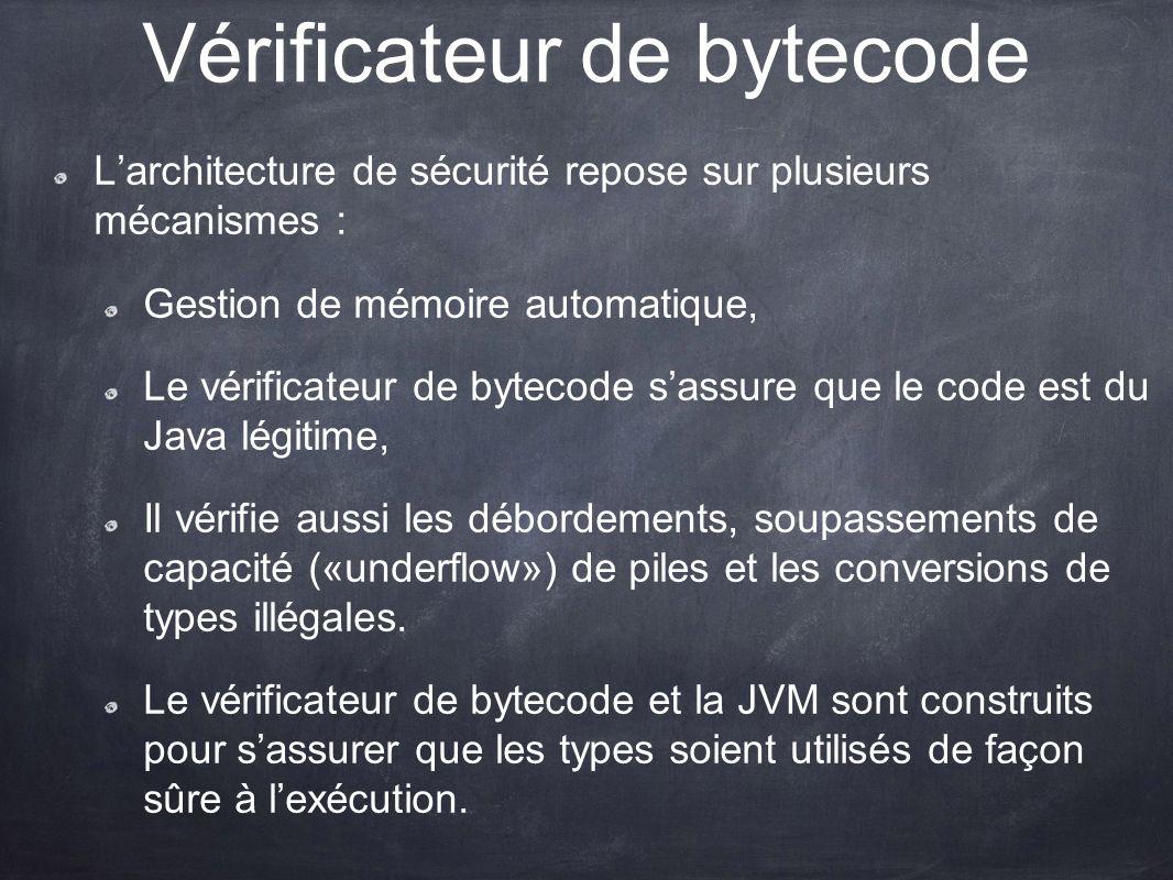 Vérificateur de bytecode Larchitecture de sécurité repose sur plusieurs mécanismes : Gestion de mémoire automatique, Le vérificateur de bytecode sassu
