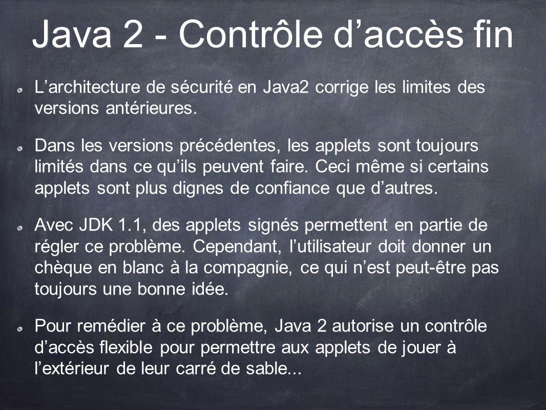 Java 2 - Contrôle daccès fin Larchitecture de sécurité en Java2 corrige les limites des versions antérieures. Dans les versions précédentes, les apple