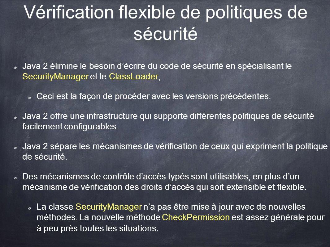 Vérification flexible de politiques de sécurité Java 2 élimine le besoin décrire du code de sécurité en spécialisant le SecurityManager et le ClassLoa