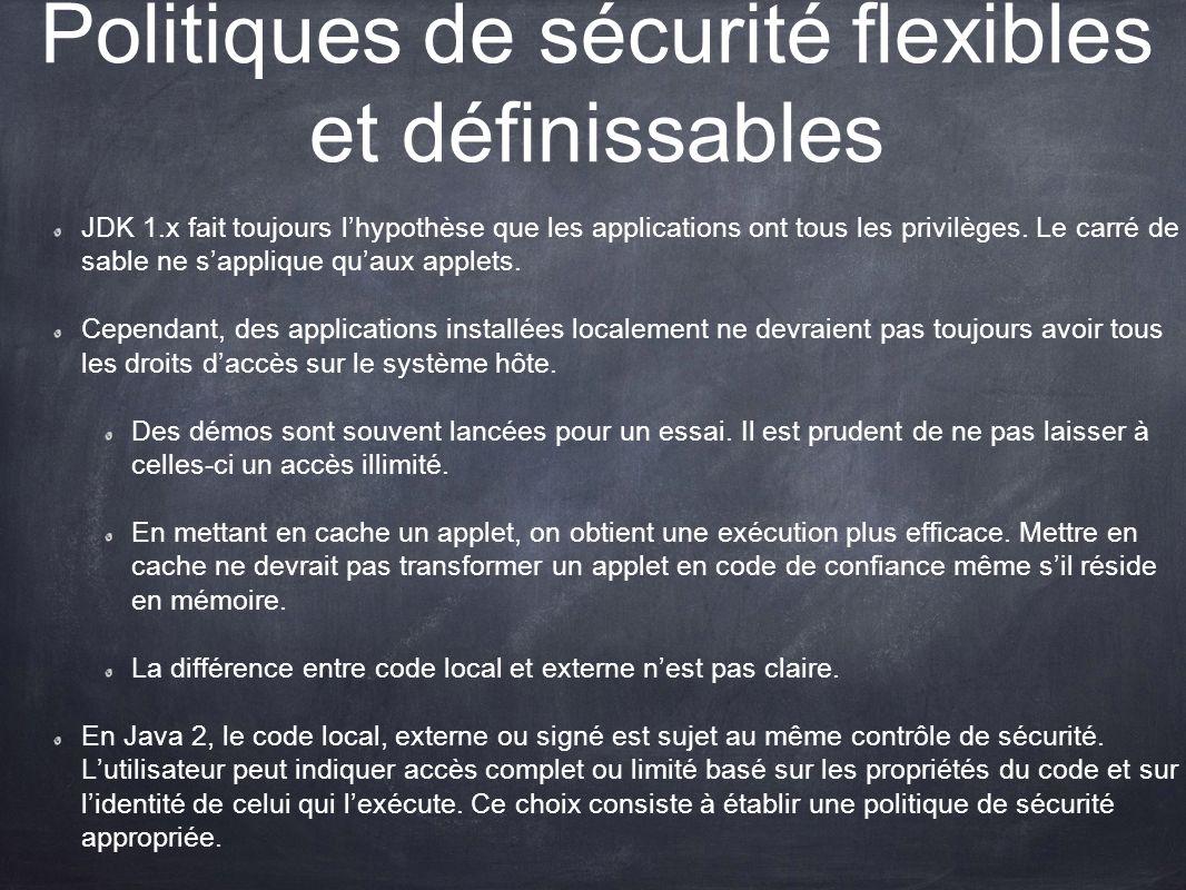 Politiques de sécurité flexibles et définissables JDK 1.x fait toujours lhypothèse que les applications ont tous les privilèges. Le carré de sable ne