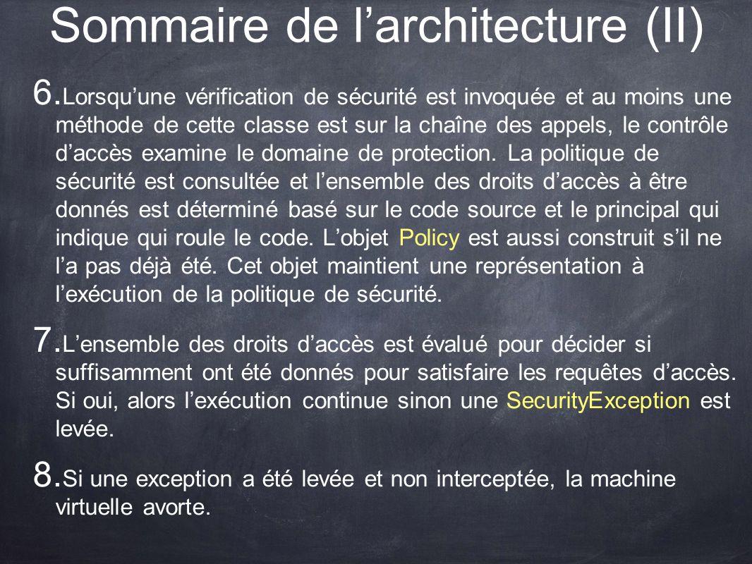 Sommaire de larchitecture (II) 6. Lorsquune vérification de sécurité est invoquée et au moins une méthode de cette classe est sur la chaîne des appels