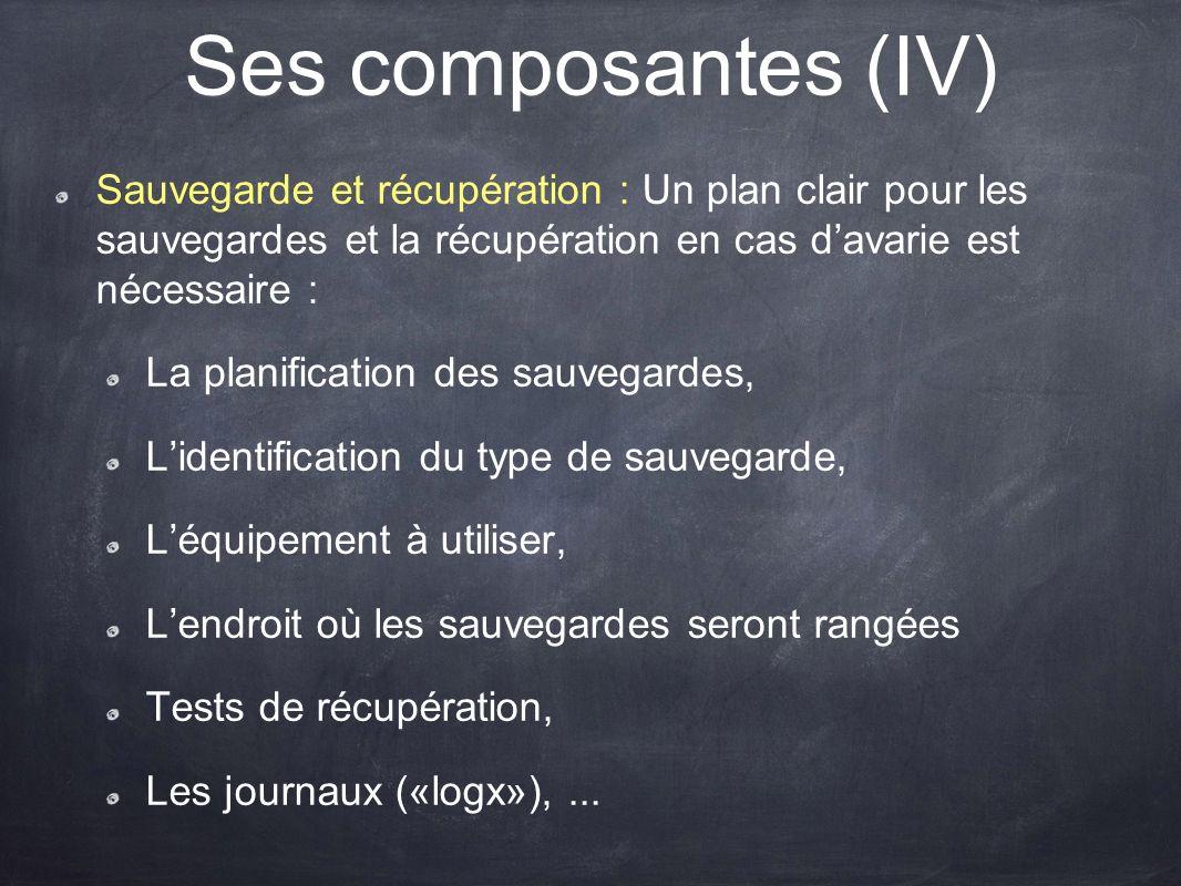 Ses composantes (IV) Sauvegarde et récupération : Un plan clair pour les sauvegardes et la récupération en cas davarie est nécessaire : La planificati