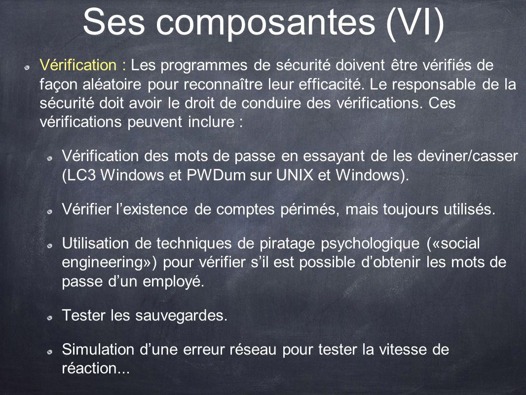 Ses composantes (VI) Vérification : Les programmes de sécurité doivent être vérifiés de façon aléatoire pour reconnaître leur efficacité. Le responsab