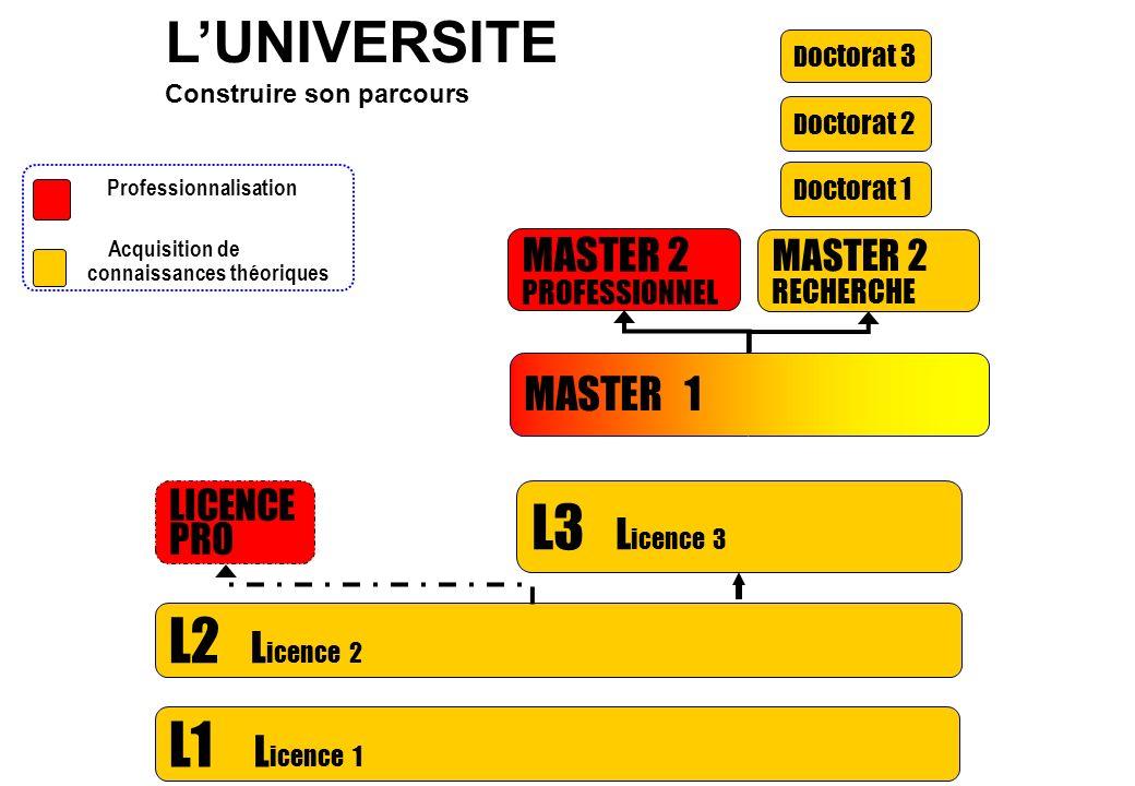L1 L icence 1 L2 L icence 2 D octorat 1 D octorat 2 D octorat 3 LICENCE PRO > Professionnalisation > Acquisition de connaissances théoriques MASTER 1