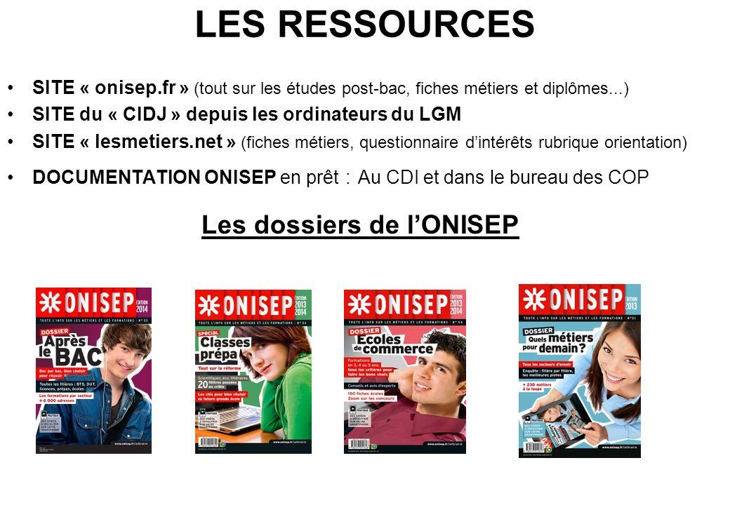 LES RESSOURCES SITE « onisep.fr » (tout sur les études post-bac, fiches métiers et diplômes...) SITE du « CIDJ » depuis les ordinateurs du LGM SITE «