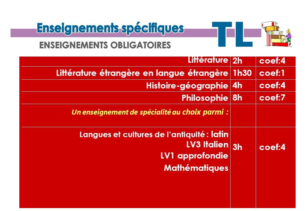 Langue vivante 3 : italien (2h) Latin (2h) Cinéma - audiovisuel (2h) Musique (2h)