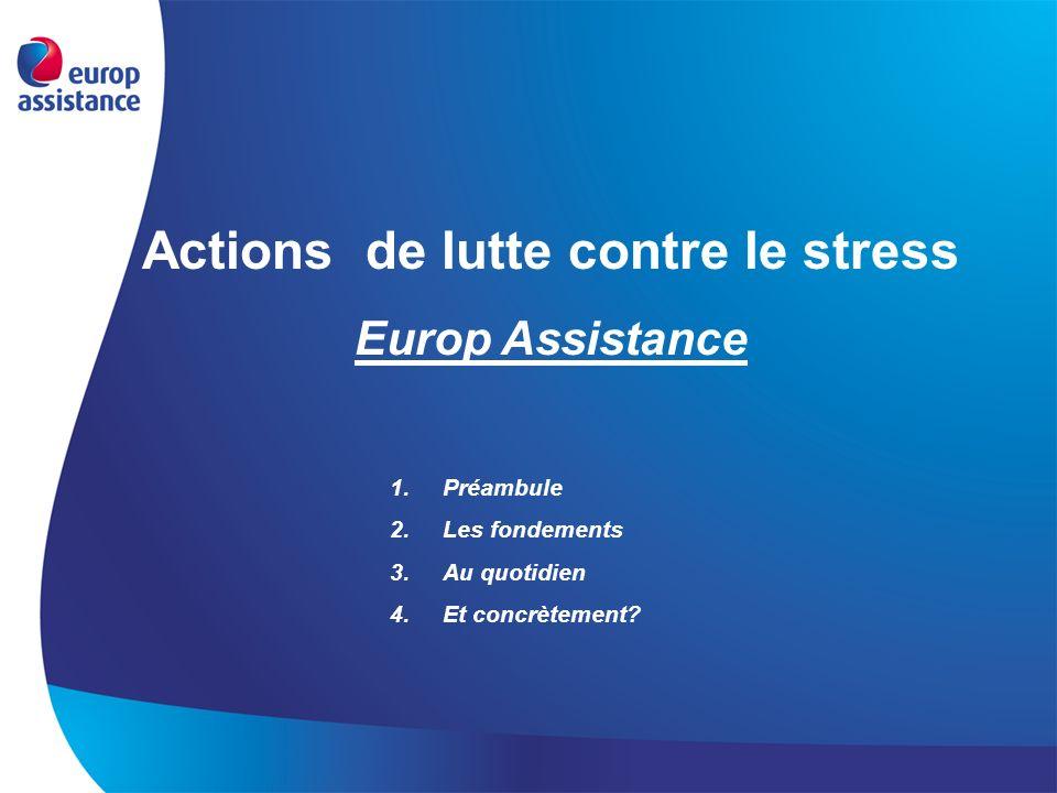 Actions de lutte contre le stress Europ Assistance 1.Préambule 2.Les fondements 3.Au quotidien 4.Et concrètement