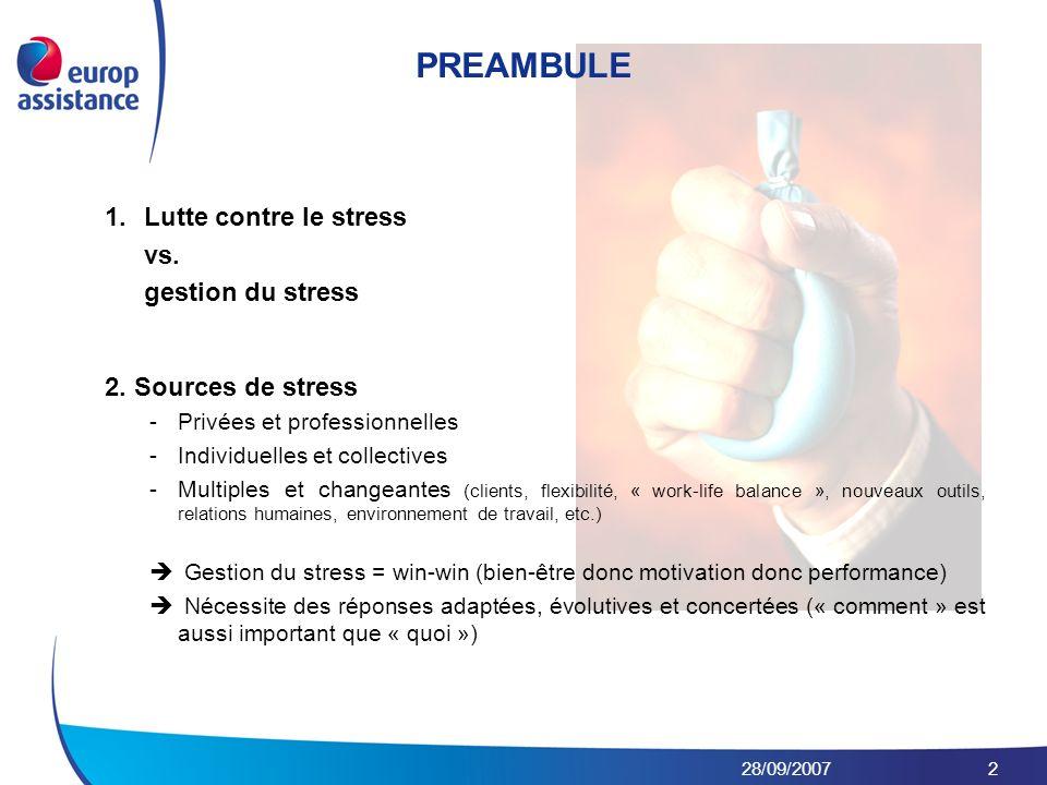 28/09/20072 1.Lutte contre le stress vs. gestion du stress 2. Sources de stress -Privées et professionnelles -Individuelles et collectives -Multiples