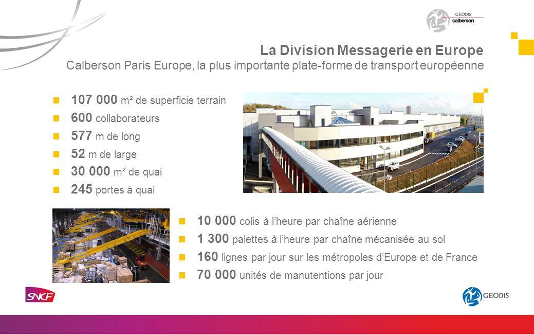 107 000 m² de superficie terrain 600 collaborateurs 577 m de long 52 m de large 30 000 m² de quai 245 portes à quai 10 000 colis à lheure par chaîne a
