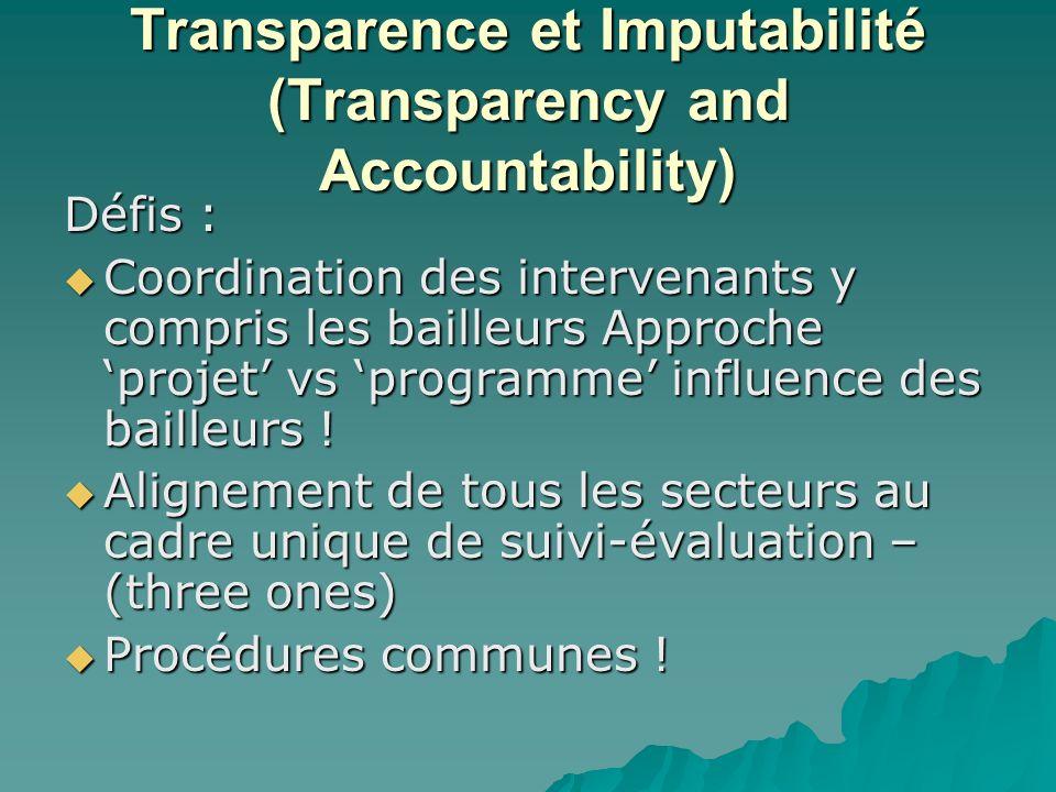 Transparence et Imputabilité (Transparency and Accountability) Défis : Coordination des intervenants y compris les bailleurs Approche projet vs programme influence des bailleurs .