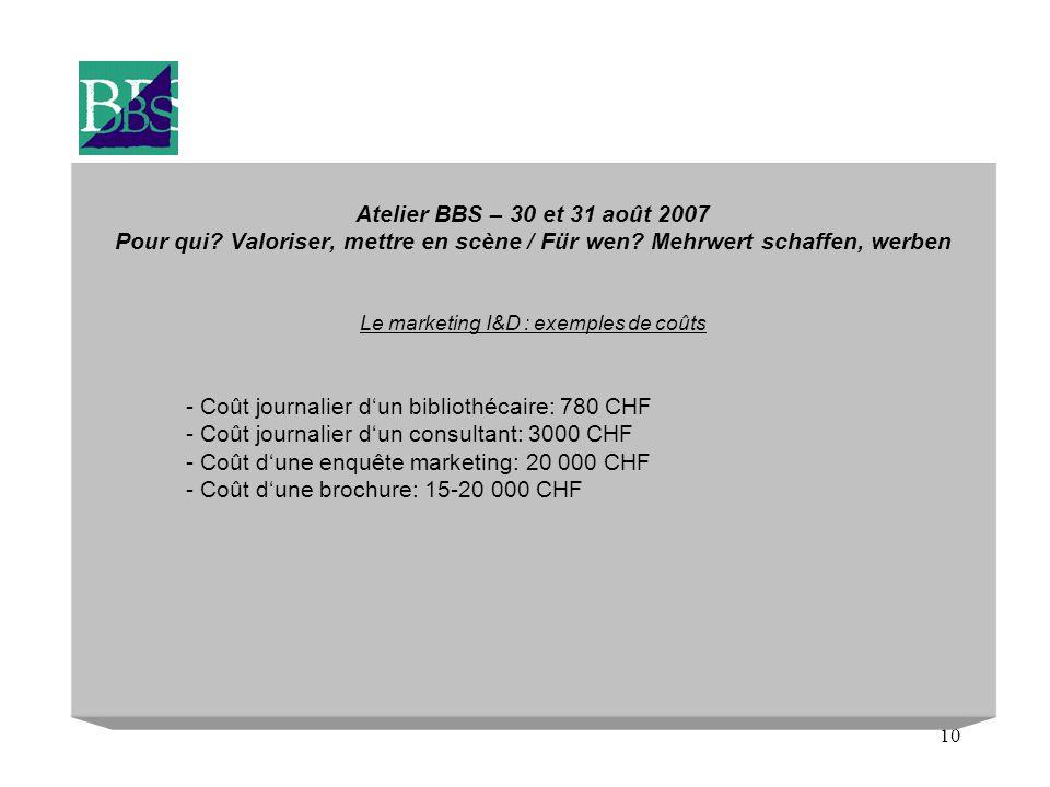 10 Atelier BBS – 30 et 31 août 2007 Pour qui. Valoriser, mettre en scène / Für wen.