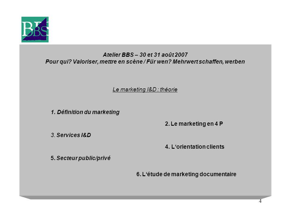 4 Atelier BBS – 30 et 31 août 2007 Pour qui. Valoriser, mettre en scène / Für wen.
