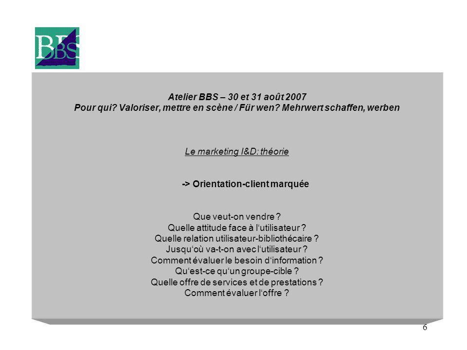 6 Atelier BBS – 30 et 31 août 2007 Pour qui? Valoriser, mettre en scène / Für wen? Mehrwert schaffen, werben Le marketing I&D: théorie -> Orientation-