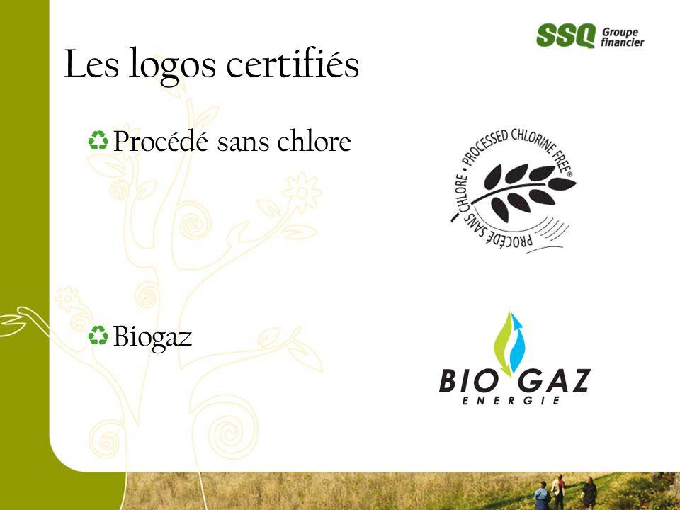 Les logos certifiés Procédé sans chlore Biogaz