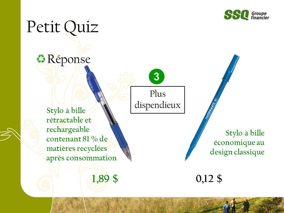 Petit Quiz 0,12 $ 1,89 $ Réponse Stylo à bille rétractable et rechargeable contenant 81 % de matières recyclées après consommation Stylo à bille écono