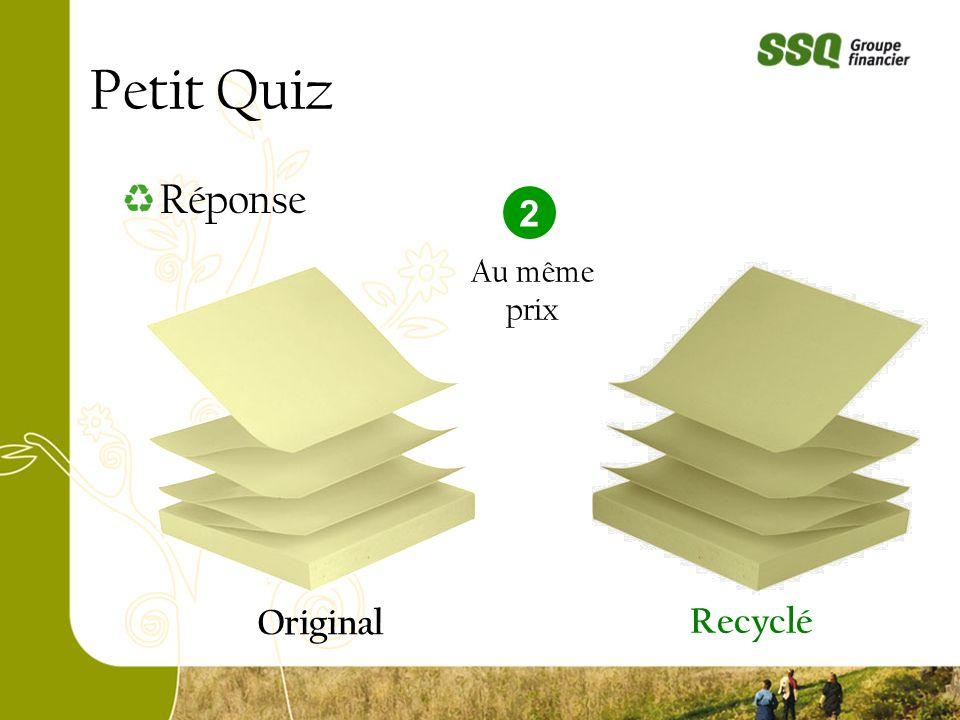 Petit Quiz Original Recyclé Réponse 2 Au même prix