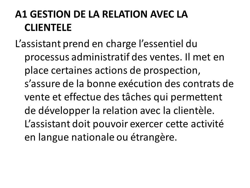 A1 GESTION DE LA RELATION AVEC LA CLIENTELE Lassistant prend en charge lessentiel du processus administratif des ventes.