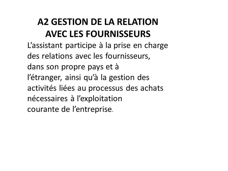 A2 GESTION DE LA RELATION AVEC LES FOURNISSEURS Lassistant participe à la prise en charge des relations avec les fournisseurs, dans son propre pays et