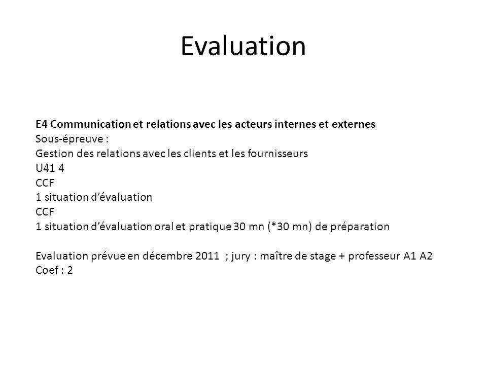 Evaluation E4 Communication et relations avec les acteurs internes et externes Sous-épreuve : Gestion des relations avec les clients et les fournisseu