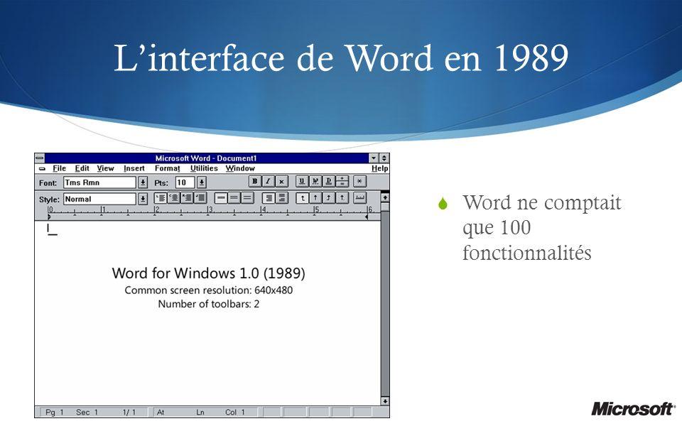 Linterface de Word en 1989 Word ne comptait que 100 fonctionnalités