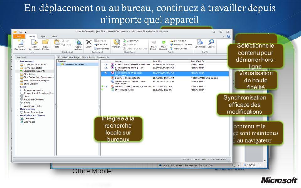 En déplacement ou au bureau, continuez à travailler depuis nimporte quel appareil Office Web Apps Espace de travail SharePoint Visualisation de haute