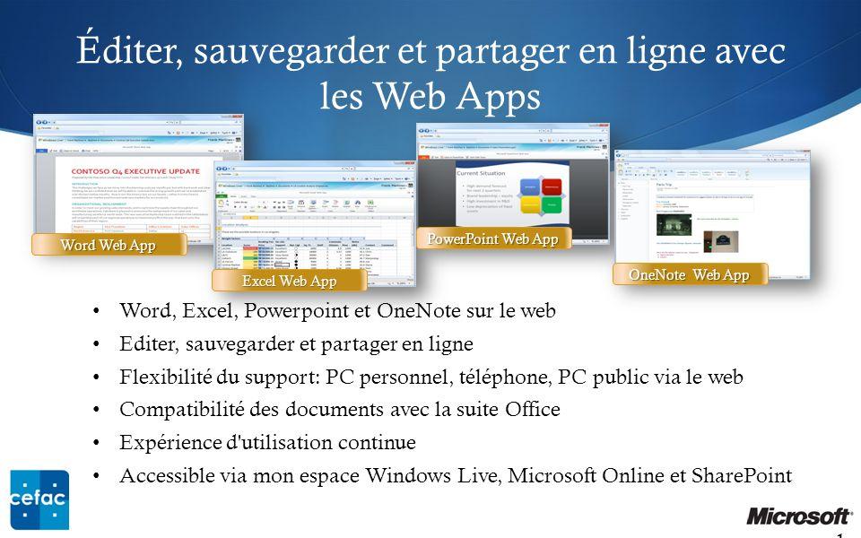 Éditer, sauvegarder et partager en ligne avec les Web Apps 19 Word, Excel, Powerpoint et OneNote sur le web Editer, sauvegarder et partager en ligne F
