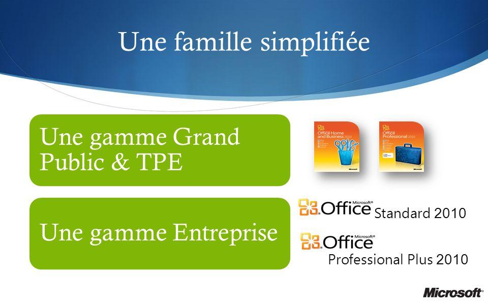 Une famille simplifiée Une gamme Grand Public & TPE Une gamme Entreprise Professional Plus 2010 Standard 2010