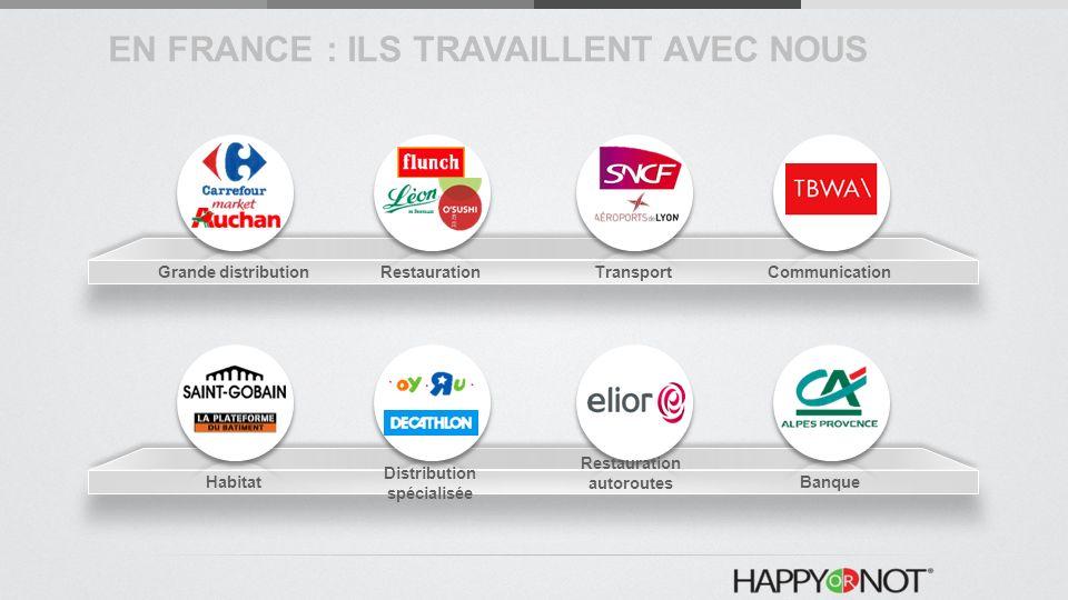 Grande distributionRestaurationTransportCommunication Habitat Distribution spécialisée Restauration autoroutes Banque EN FRANCE : ILS TRAVAILLENT AVEC NOUS