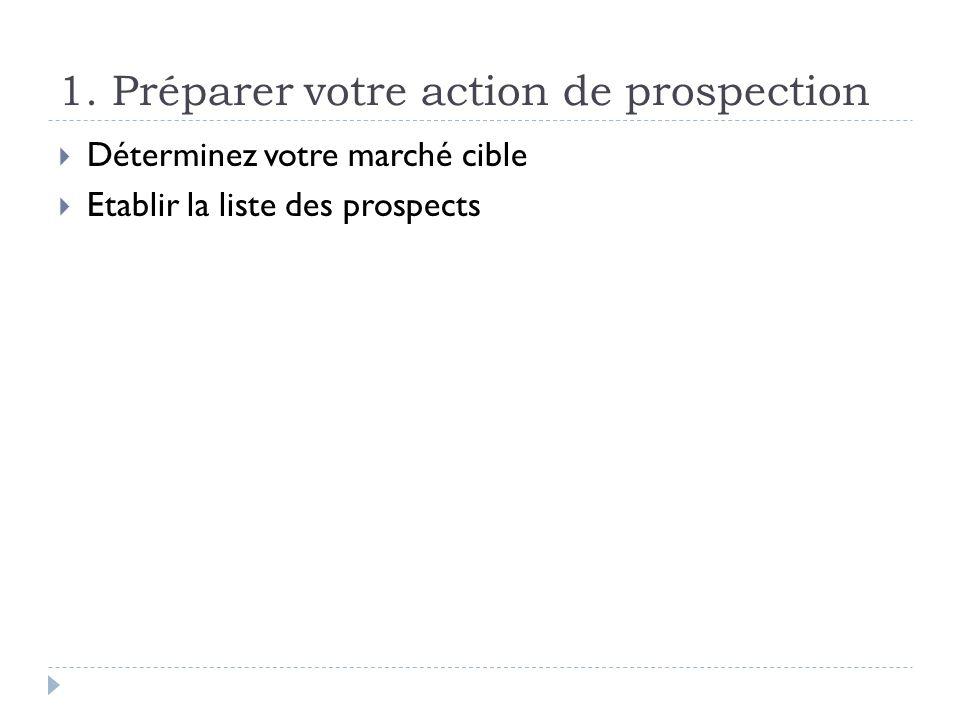 1. Préparer votre action de prospection Déterminez votre marché cible Etablir la liste des prospects
