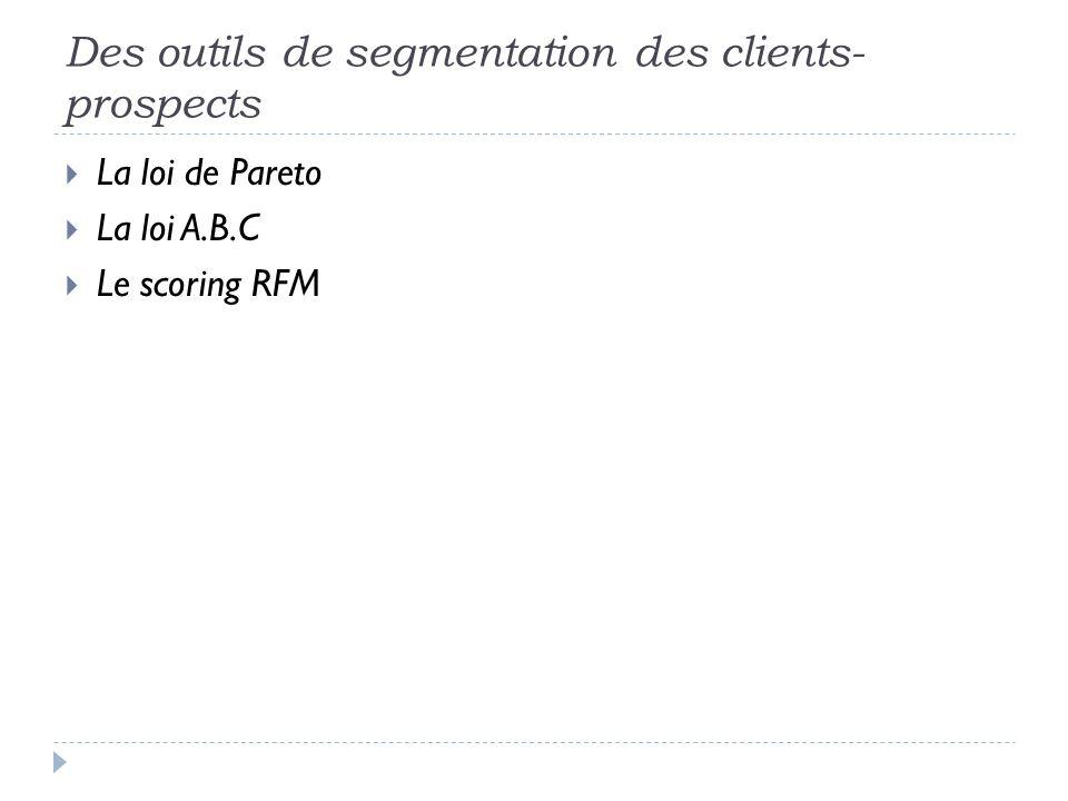 Des outils de segmentation des clients- prospects La loi de Pareto La loi A.B.C Le scoring RFM