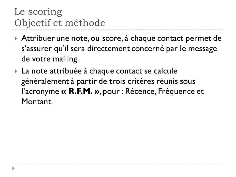 Le scoring Objectif et méthode Attribuer une note, ou score, à chaque contact permet de sassurer quil sera directement concerné par le message de votr