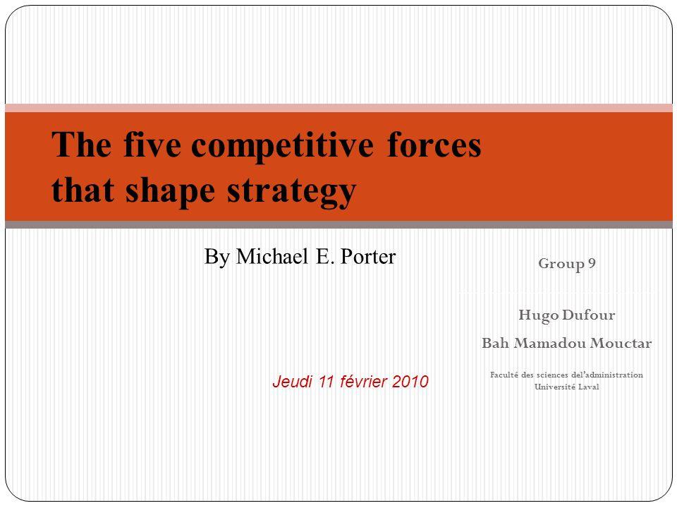 Plan de la présentation 2 Introduction 5 forces compétitives de Porter Facteurs influant sur lindustrie Changement dans la structure de lindustrie Implications de la stratégie Conclusion