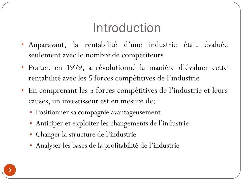 Introduction 3 Auparavant, la rentabilité dune industrie était évaluée seulement avec le nombre de compétiteurs Porter, en 1979, a révolutionné la man