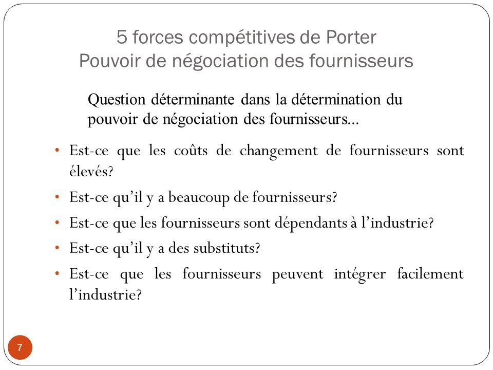5 forces compétitives de Porter Pouvoir de négociation des clients 8 Nombre de clients Volume de ventes attribué à chaque client Différenciation des produits de lindustrie Coûts de changement pour les clients Qualité du produit Prix du produit Est-ce que les clients peuvent intégrer lindustrie.
