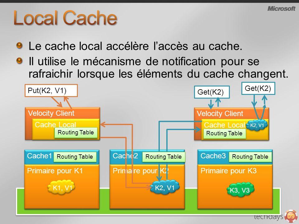 Velocity Client Cache Local Le cache local accélère laccès au cache.