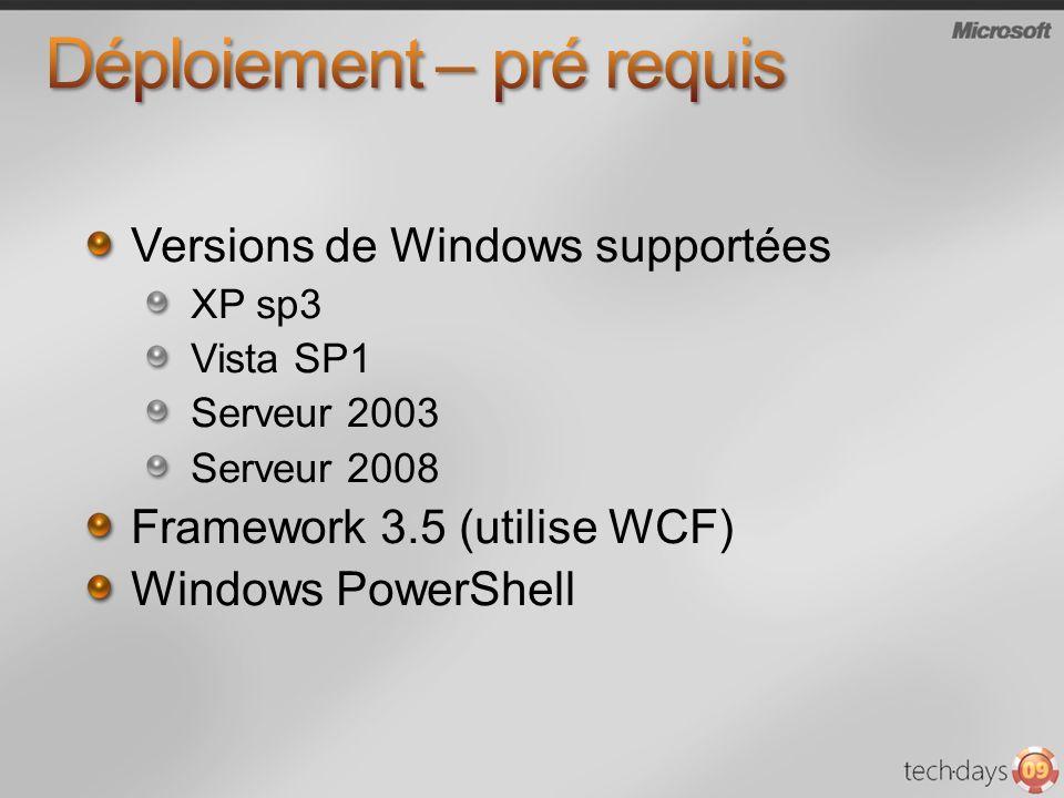 Versions de Windows supportées XP sp3 Vista SP1 Serveur 2003 Serveur 2008 Framework 3.5 (utilise WCF) Windows PowerShell