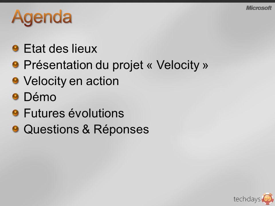 Etat des lieux Présentation du projet « Velocity » Velocity en action Démo Futures évolutions Questions & Réponses