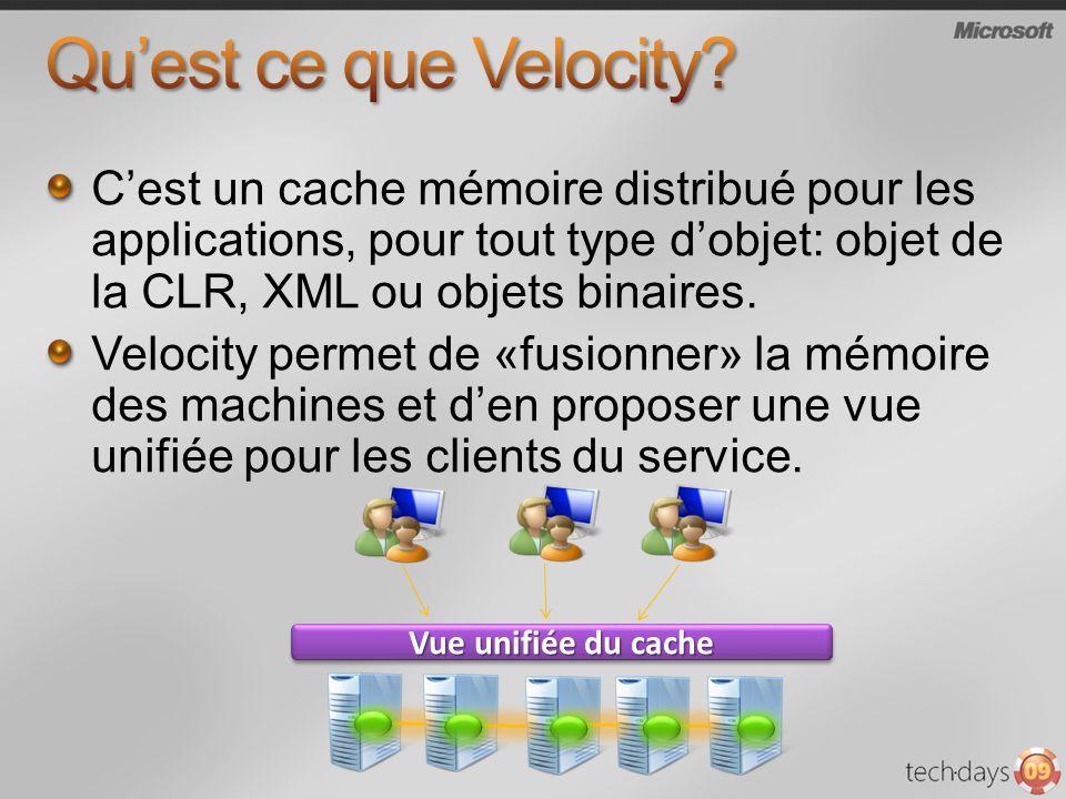 Cest un cache mémoire distribué pour les applications, pour tout type dobjet: objet de la CLR, XML ou objets binaires.