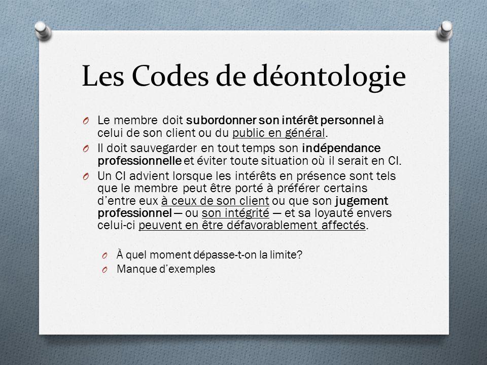 Les Codes de déontologie O Le membre doit subordonner son intérêt personnel à celui de son client ou du public en général.