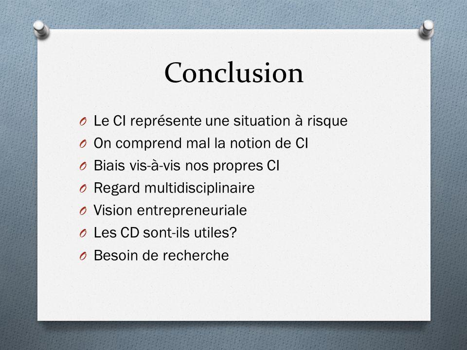 Conclusion O Le CI représente une situation à risque O On comprend mal la notion de CI O Biais vis-à-vis nos propres CI O Regard multidisciplinaire O Vision entrepreneuriale O Les CD sont-ils utiles.