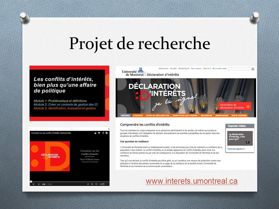 Projet de recherche www.interets.umontreal.ca