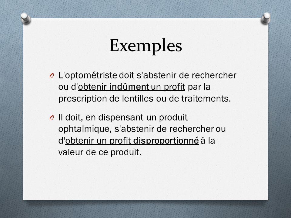 Exemples O L optométriste doit s abstenir de rechercher ou d obtenir indûment un profit par la prescription de lentilles ou de traitements.
