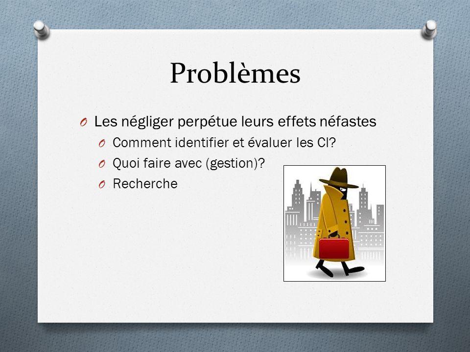 Problèmes O Les négliger perpétue leurs effets néfastes O Comment identifier et évaluer les CI.