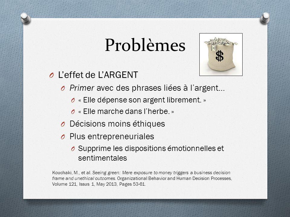 Problèmes O Leffet de LARGENT O Primer avec des phrases liées à largent… O « Elle dépense son argent librement.
