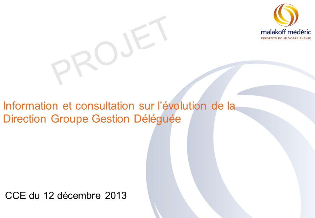 PROJET CCE du 12 décembre 2013 Information et consultation sur lévolution de la Direction Groupe Gestion Déléguée