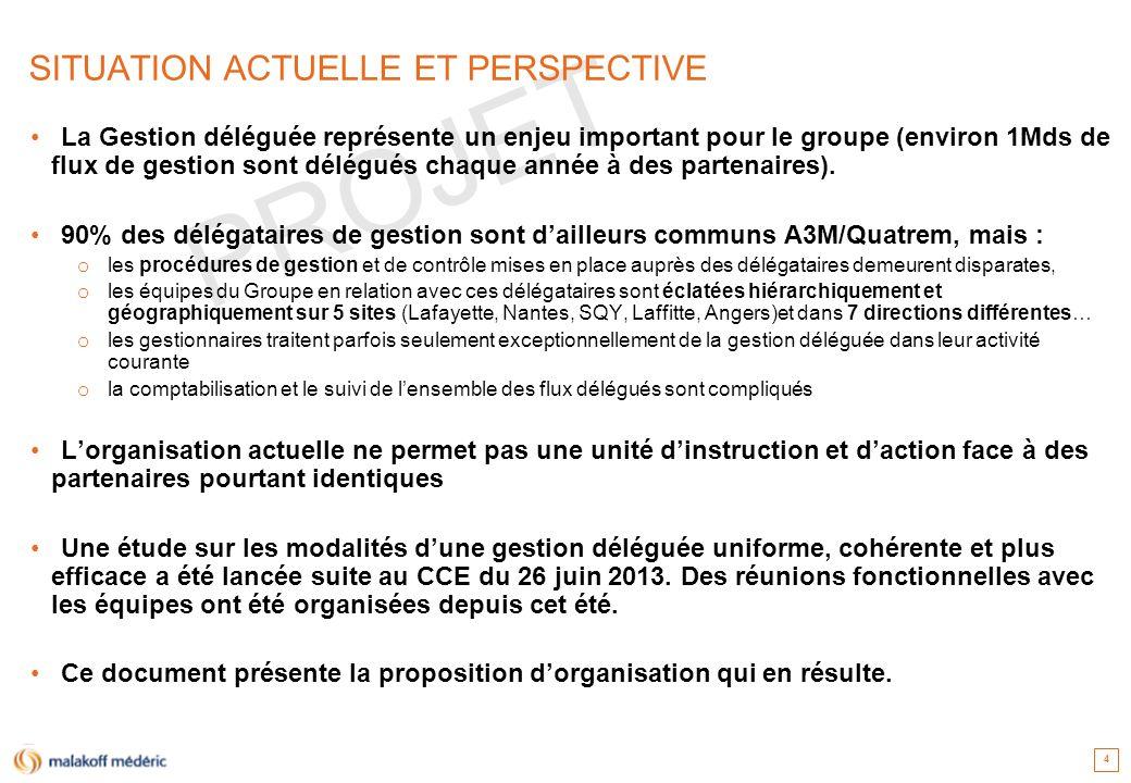 PROJET SITUATION ACTUELLE ET PERSPECTIVE La Gestion déléguée représente un enjeu important pour le groupe (environ 1Mds de flux de gestion sont délégu