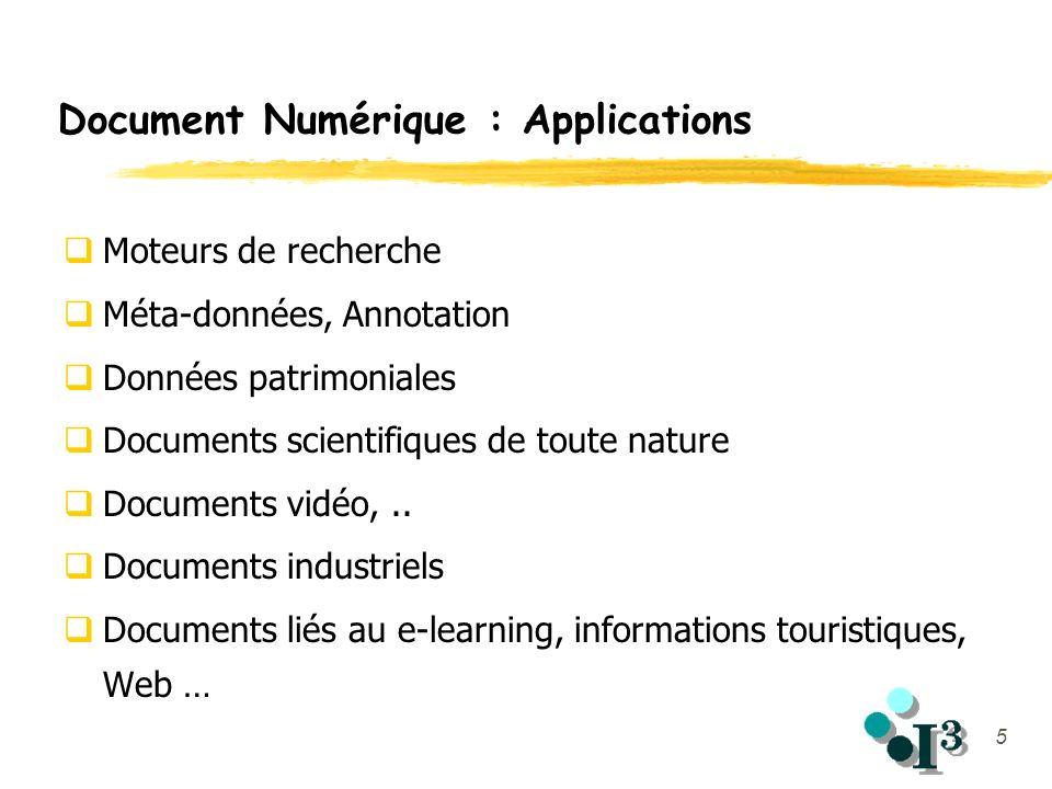 5 Document Numérique : Applications Moteurs de recherche Méta-données, Annotation Données patrimoniales Documents scientifiques de toute nature Docume