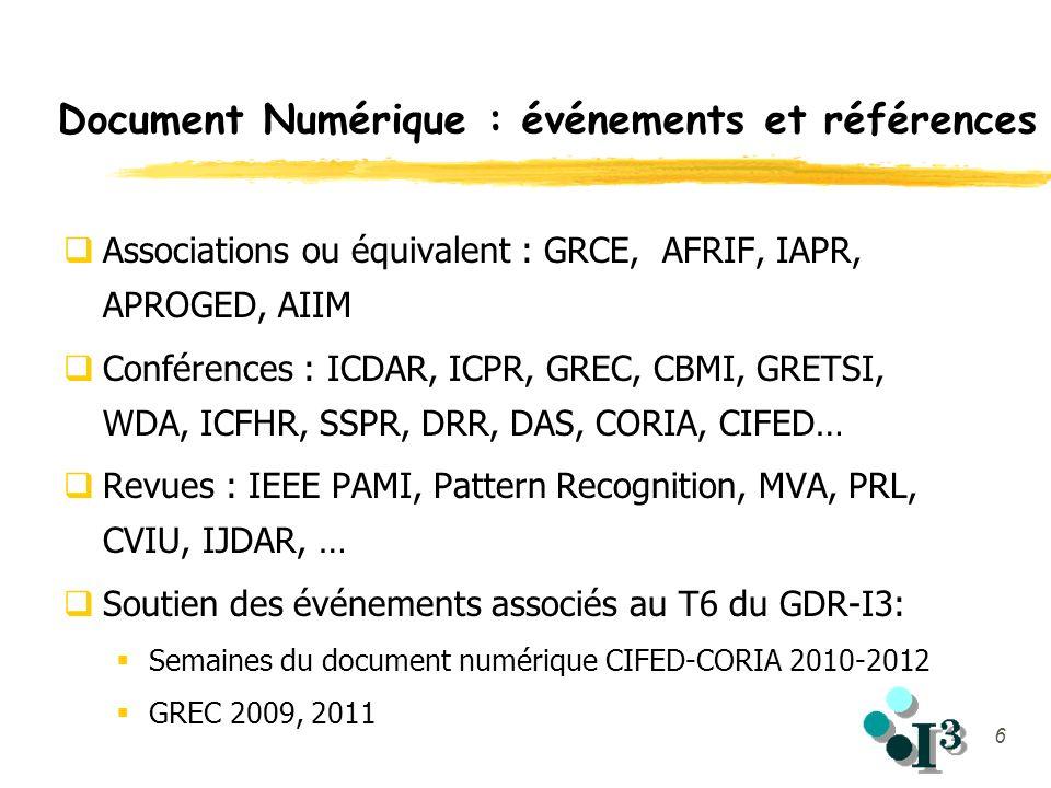 6 Document Numérique : événements et références Associations ou équivalent : GRCE, AFRIF, IAPR, APROGED, AIIM Conférences : ICDAR, ICPR, GREC, CBMI, G